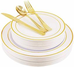 125 piece gold rose gold plates