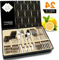 24 Pcs Stainless Steel Flatware Set Service for 6 Kitchen Cu