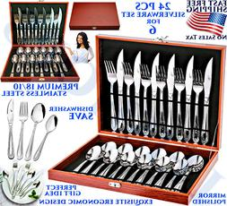 24 PCS STAINLESS STEEL FLATWARE SET SERVICE FOR 6 KITCHEN SI