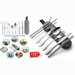 8pcs Portable Stainless Steel Travel Camping Cutlery Silverw