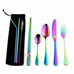 8Pcs Reusable Stainless Steel Straws Kitchen Camping Travel