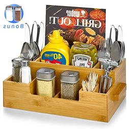 Bamboo Utensil Holder Wooden Candy Set Plus Spice Jars Silve