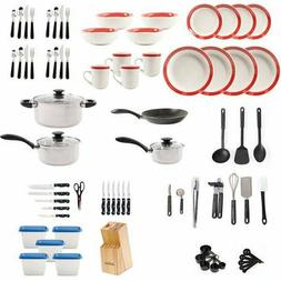 Kitchen In A Box 83-Piece Combo Set Red Rim Dishes Pots Pans