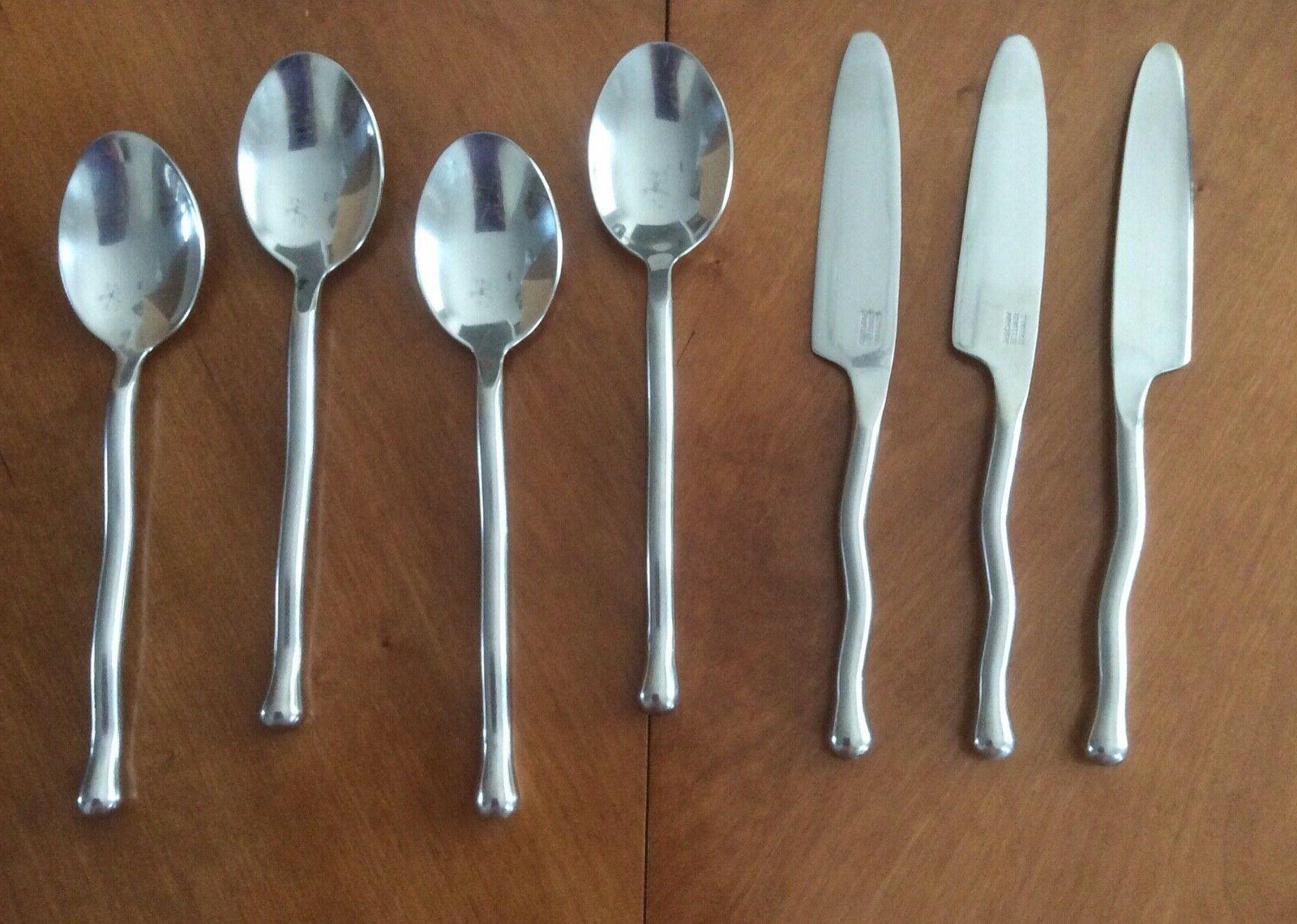 exotique platinum stainless silverware flatware spoons knive