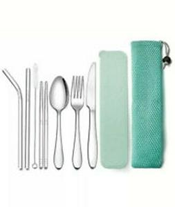 Reusable Personal Silverware for Camping , Travel - 9 Pcs Fl