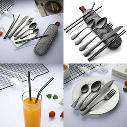 Reusable Utensils W Case 9 PC Portable Travel Camping Silver