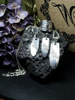 queen bess ring necklace earring set sterling silver plated