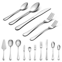 45-Piece Silverware Set with Serving Pieces, LIANYU Stainles
