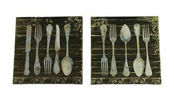 Vintage Finish Wood Look Antique Silverware Canvas Wall Prin