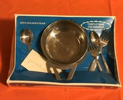 VINTAGE ORIGINAL SANITOY STAINLESS STEEL BABY TODDLER 1st FE
